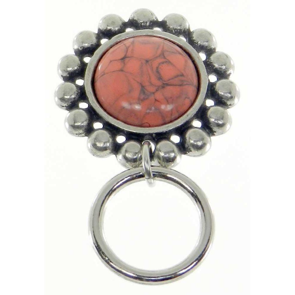 The Smart Pin - Santa Fe - Antique Silver Tone-Coral Stone Magnetic Eyeglass Pin