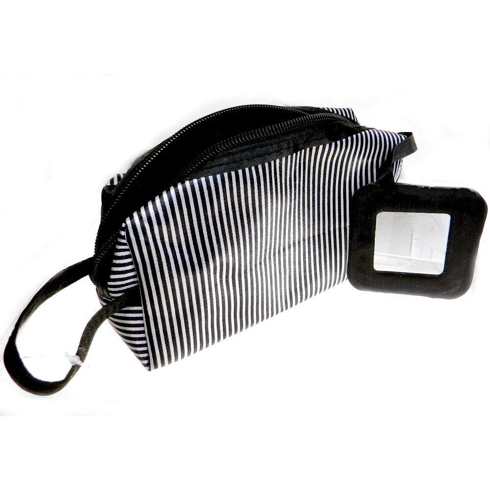 Giftcraft Cosmetic Bag - Black and White Stripe with Mirror