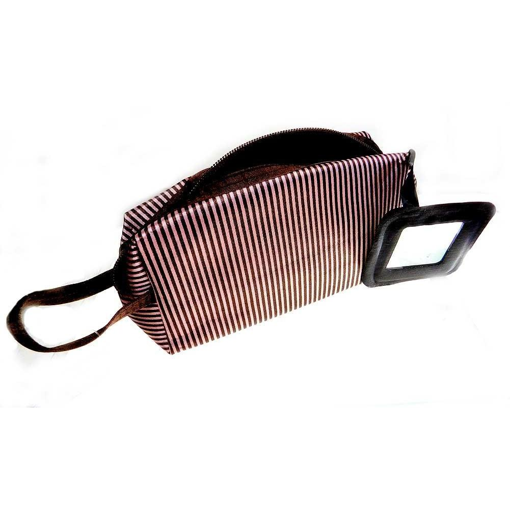Giftcraft Cosmetic Bag - Brown and Pink Stripe with Mirror