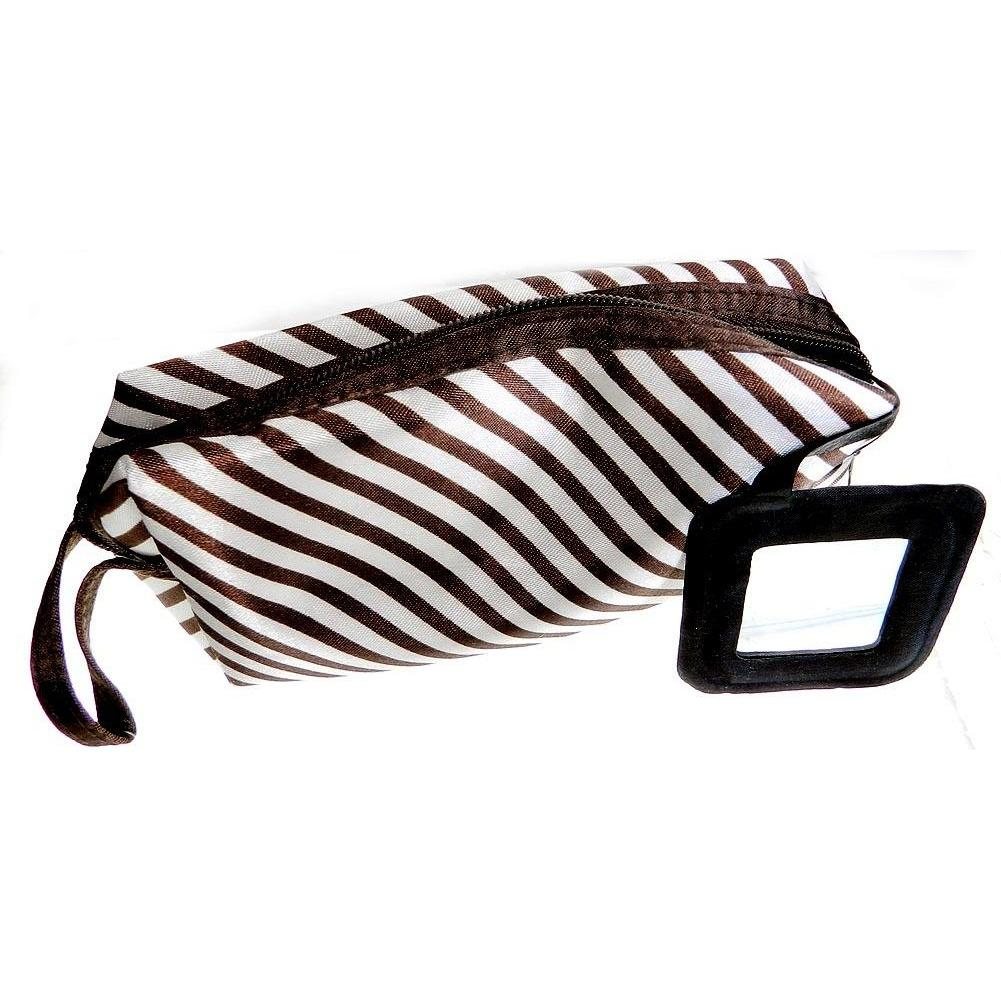 Giftcraft Cosmetic Bag - Brown and White Stripe with Mirror