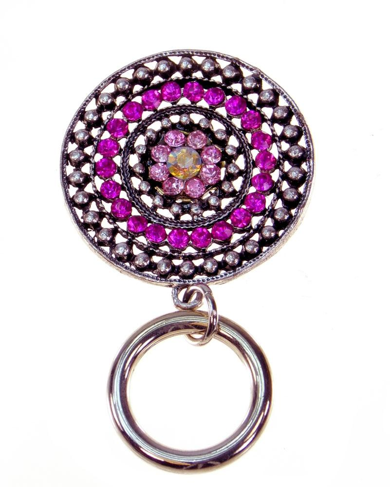 Magnetic ID Badge-Eyeglass Holder Pin - Dazzle in Pink