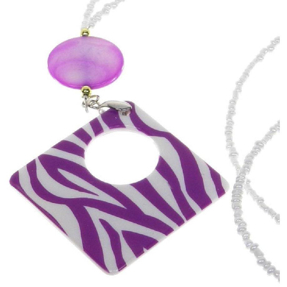 Fashion Eyeglass Holder Necklace - Purple Zebra