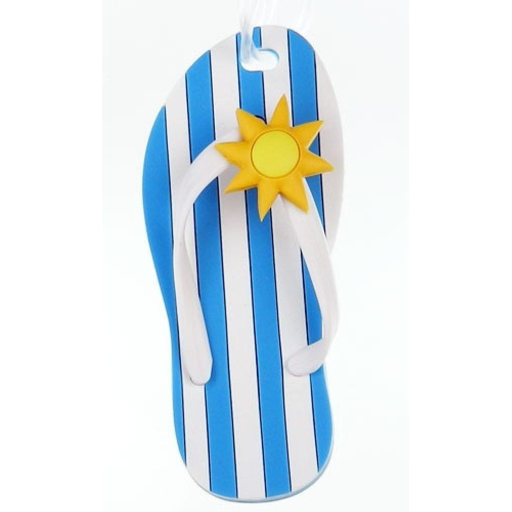 Flip Flop Luggage Tag - Blue and White Stripe