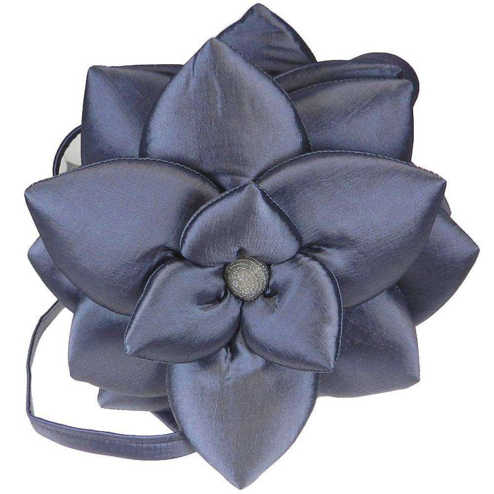 Silver Taffeta Lotus Shoulder Purse