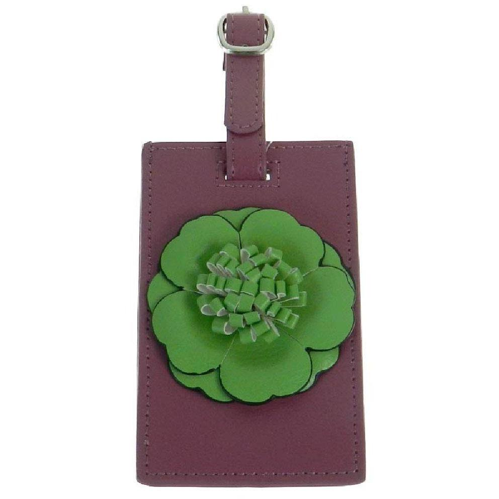 Flower Luggage Tag - Lime Flower on Magenta