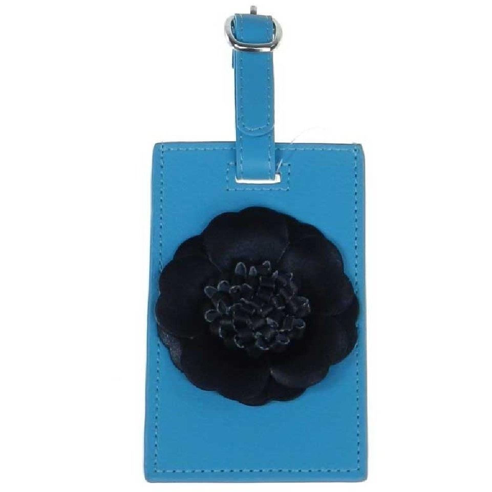 Flower Luggage Tag - Black Flower on Aqua