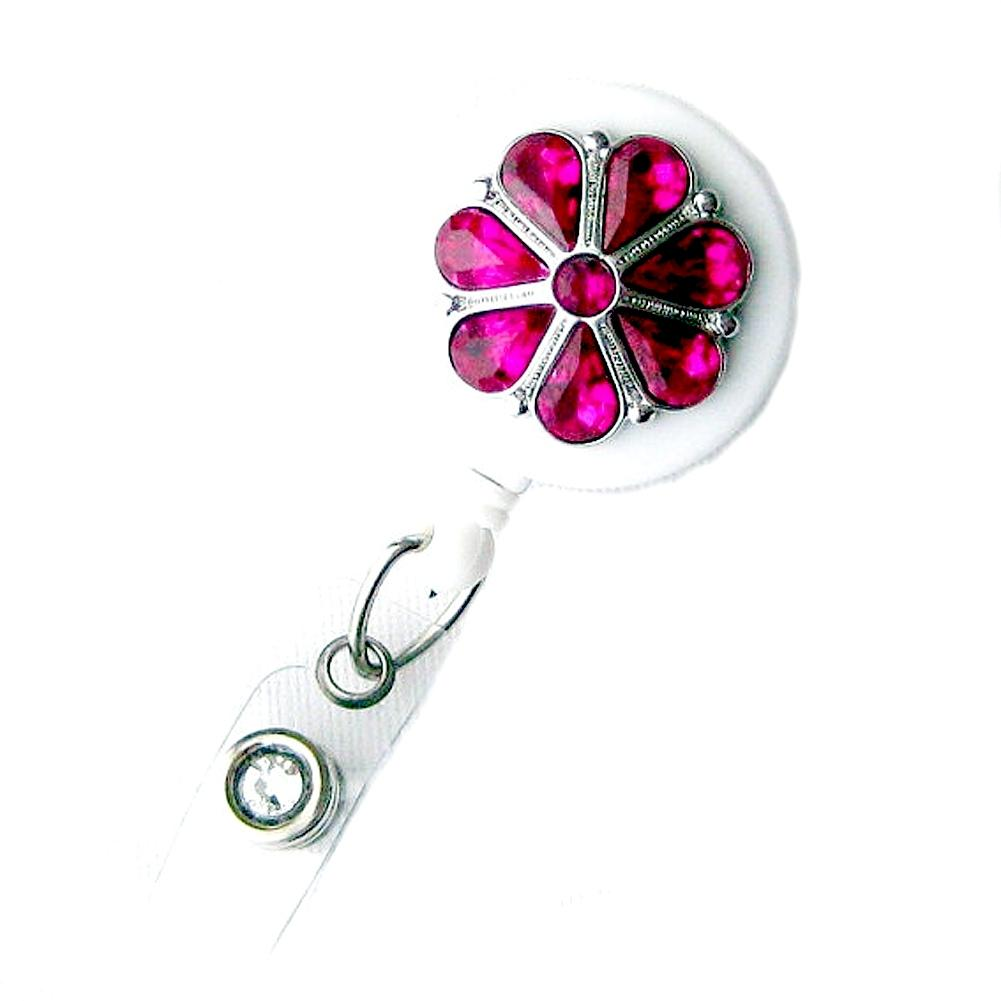 Badge Blooms ID Badge Reel - Bling - Fuchsia Flower