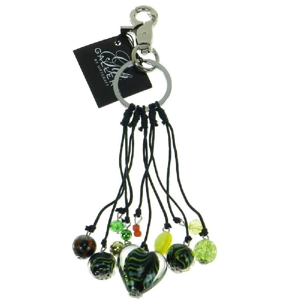Glass Heart Purse Charm and Key Chain - Black-Green
