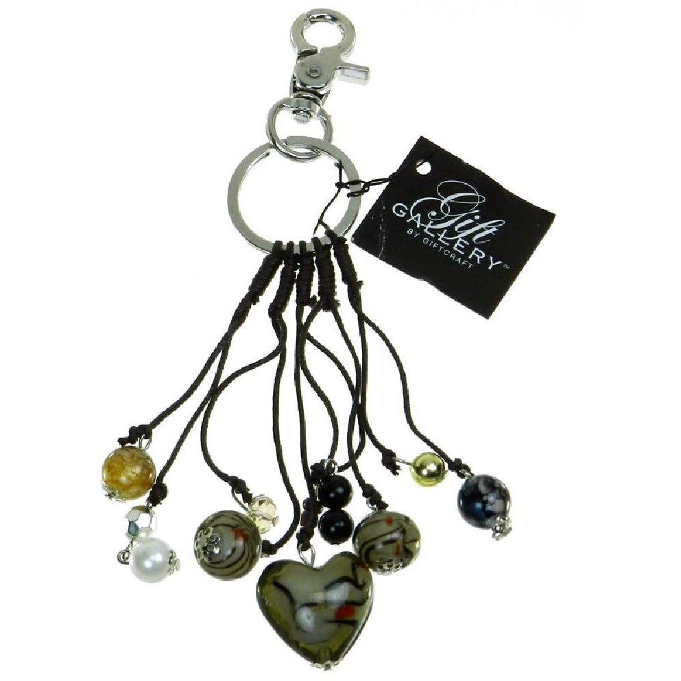 Glass Heart Purse Charm and Key Chain - Khaki- Brown