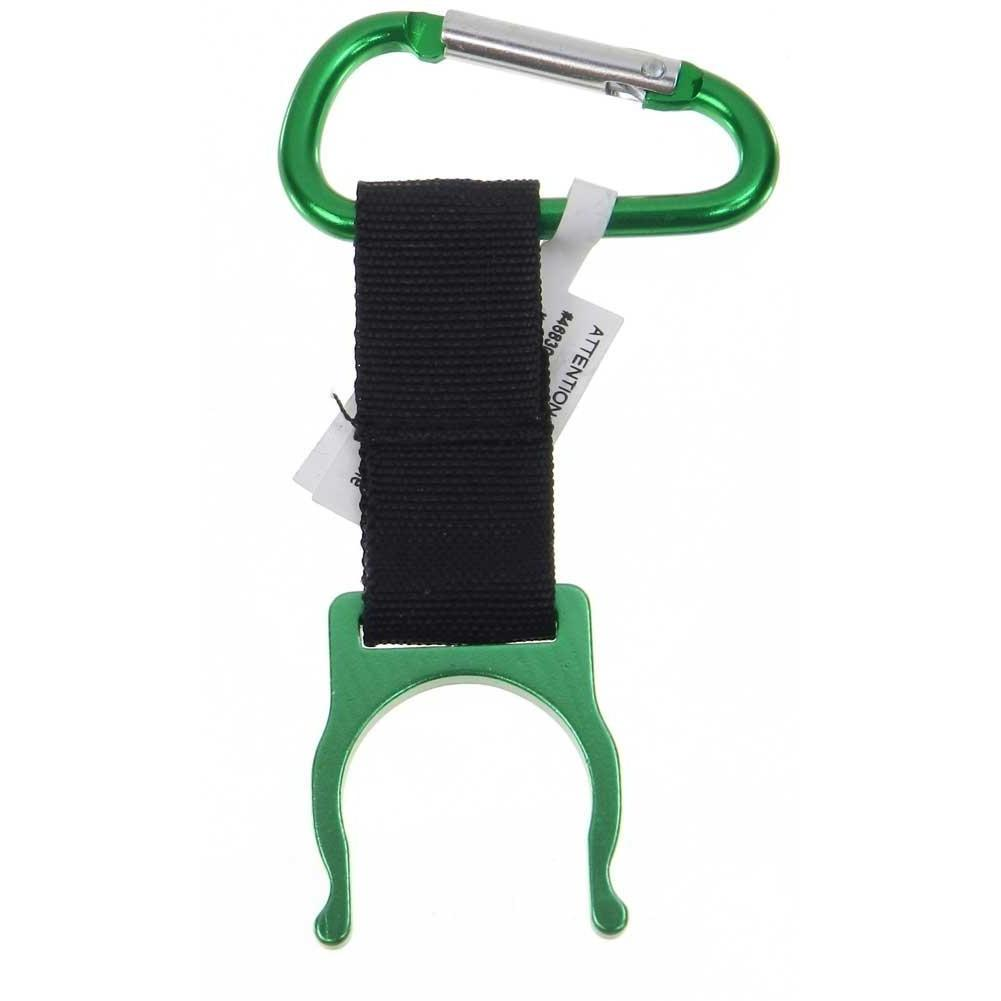 Bottle Holder with Caribiner Clip - Green
