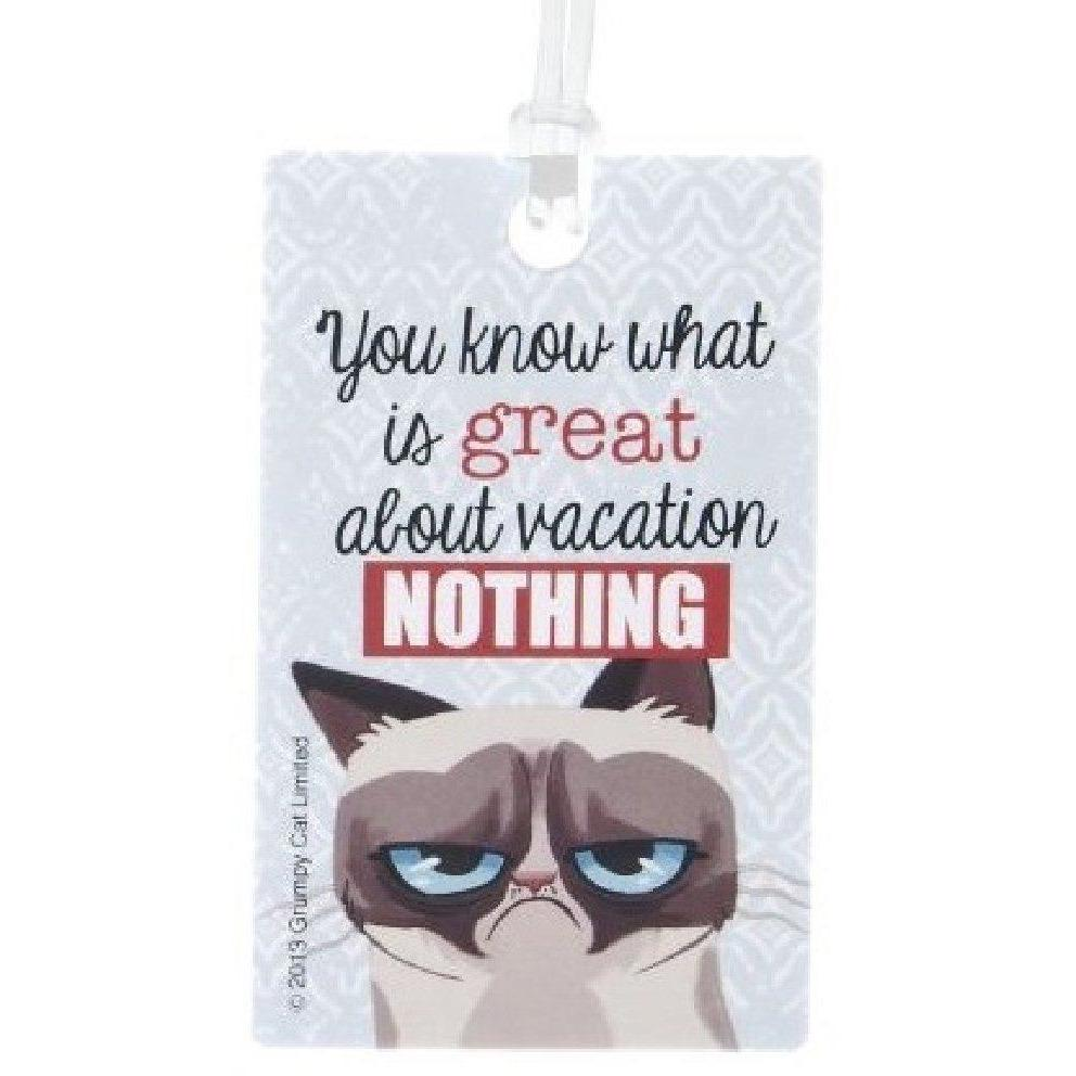 Grumpy Cat Luggage Tags - You know what's great about vacation? NOTHING
