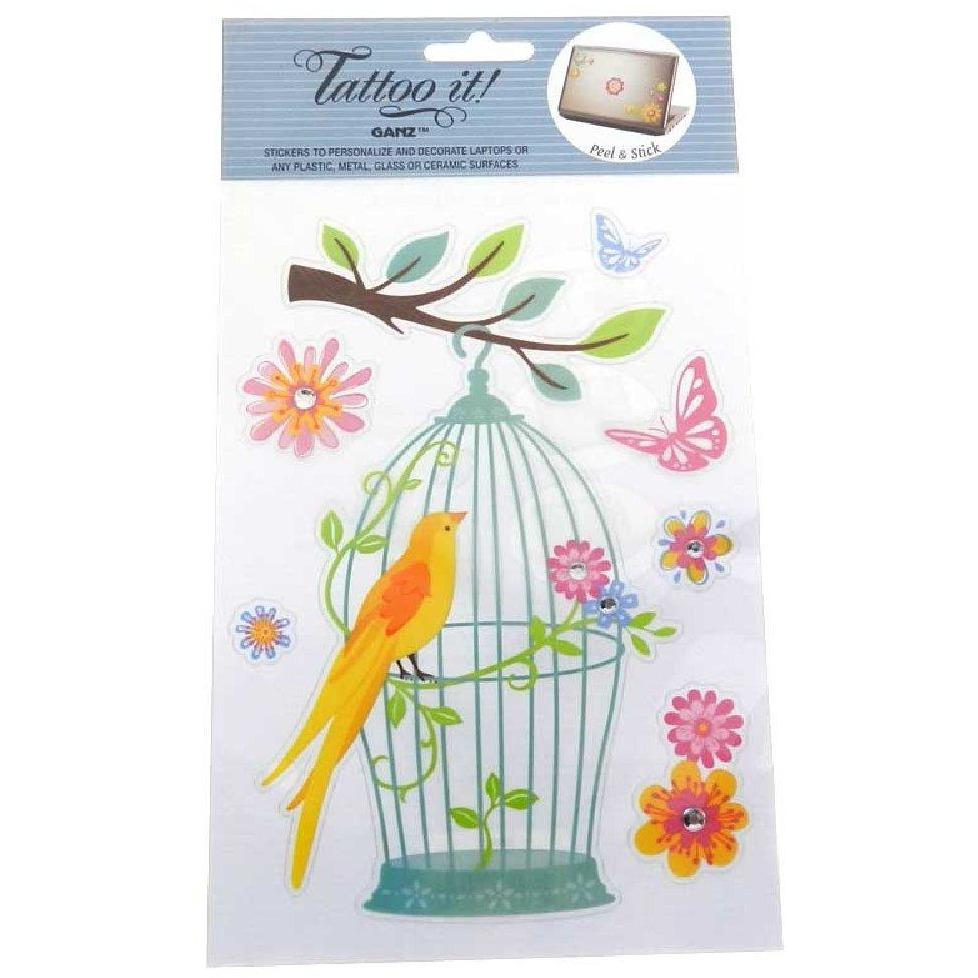 Stickers for tablets and laptops - Bird Cage and Butterflies