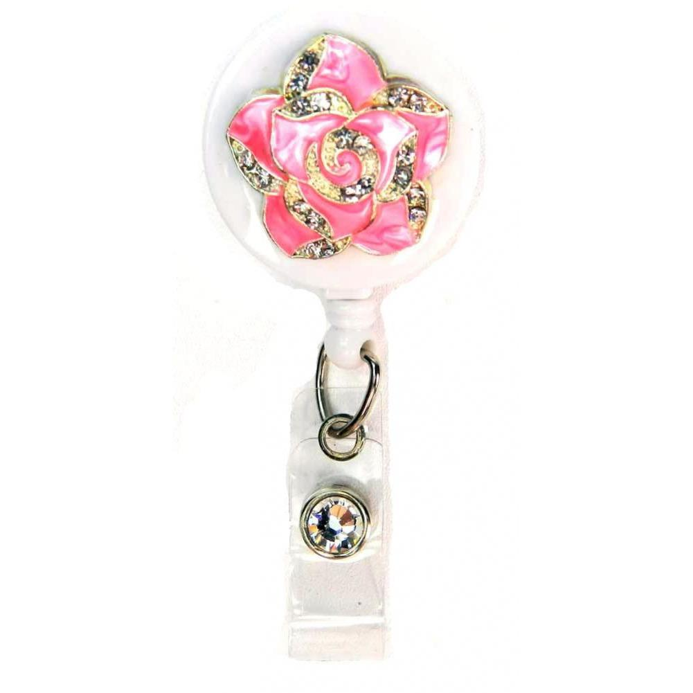 Badge Blooms ID Badge Reel - Bling - Mini Pink Petal