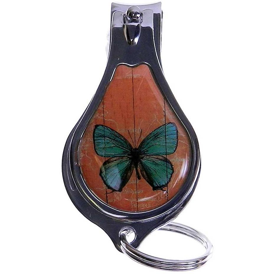 Butterfly Nail Clipper - Bottle Opener - Key Chain - Green on an Orange Background