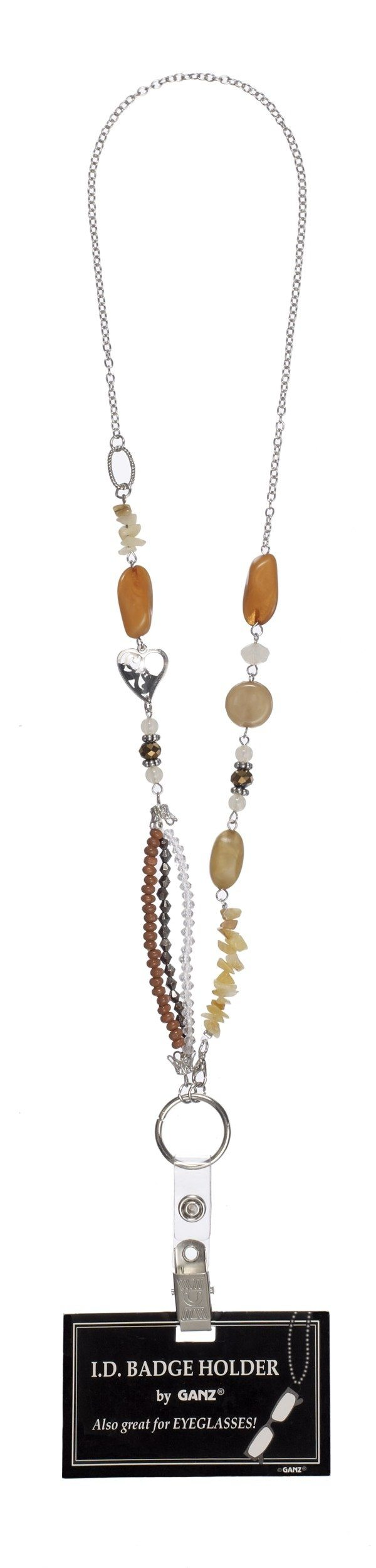 Naturals Beaded ID Badge Holder-Eyeglass Holder Necklace - Brown