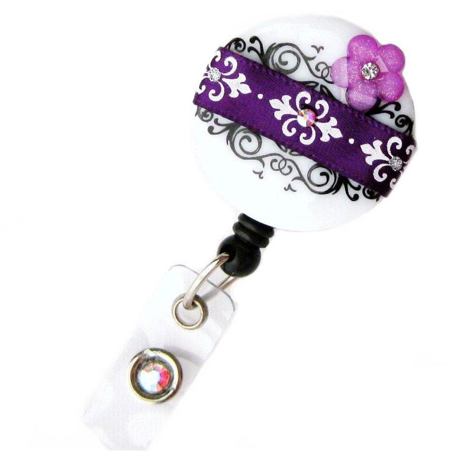Badge Blooms ID Badge Reel - Damask - Purple Chic Blossom