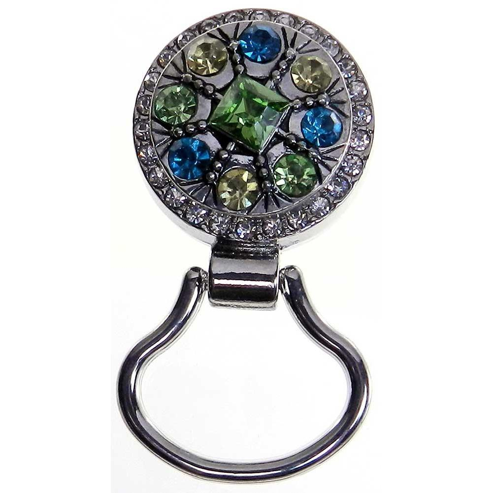 Rhinestone Magnetic Eyeglass Holder Pin - Green, Yellow and Blue
