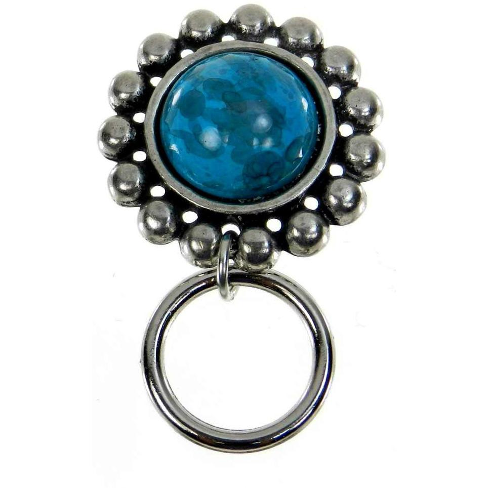 The Smart Pin - Santa Fe - Antique Silver Tone-Turquoise Stone Magnetic Eyeglass Pin