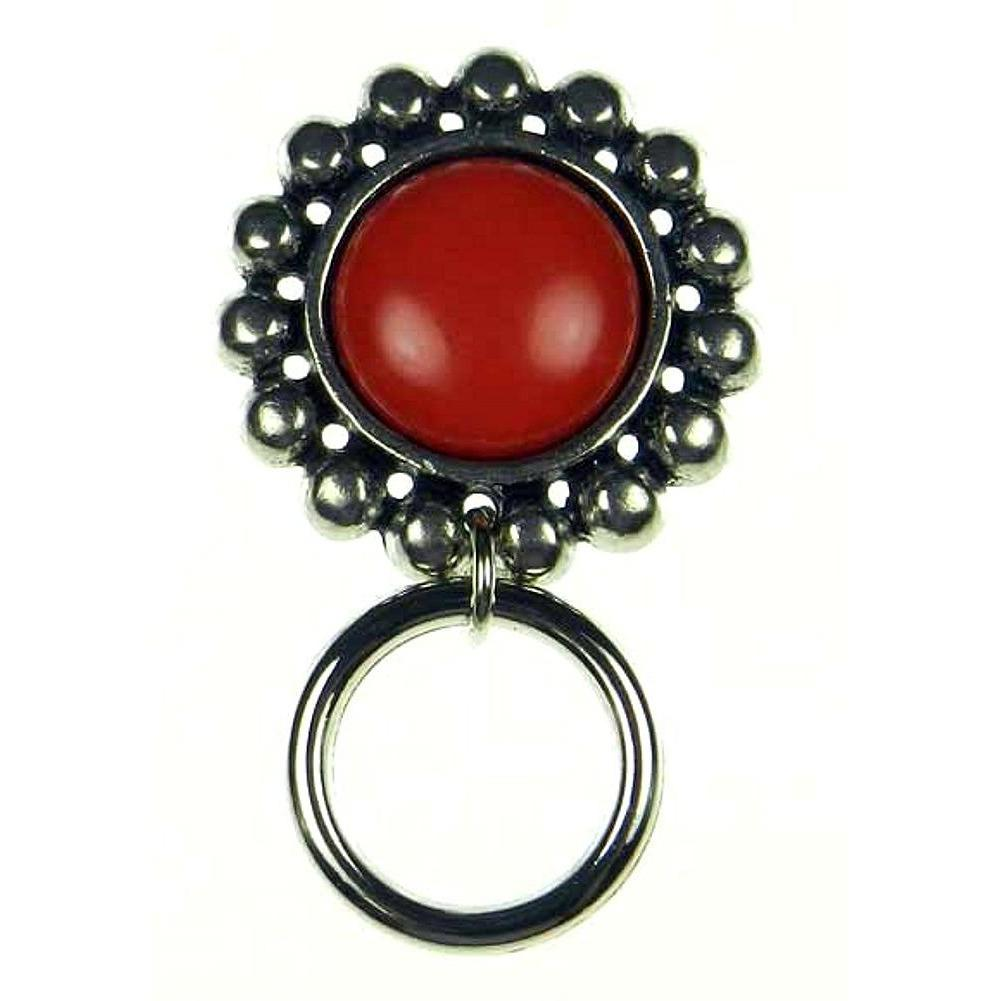 The Smart Pin - Santa Fe - Antique Silver Tone-Red Stone Magnetic Eyeglass Pin