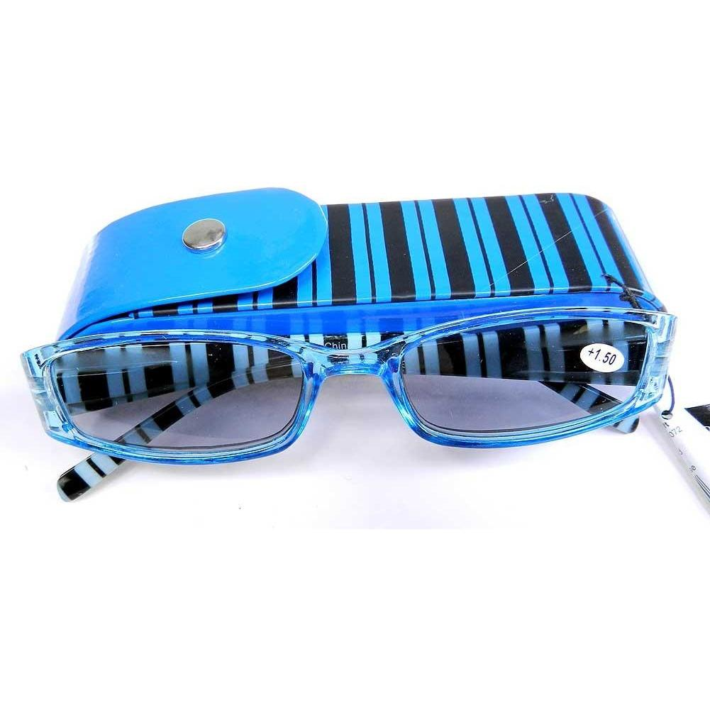 Reading Sunglasses with matching snap case - +2 - Blue-Black stripe