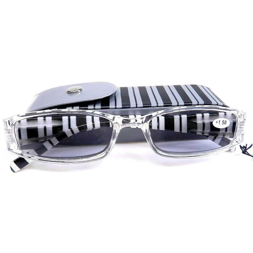 Reading Sunglasses with matching snap case - +2 - Gray-Black stripe
