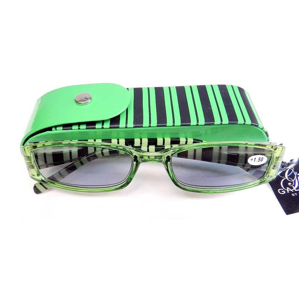 Reading Sunglasses with matching snap case - +1.50- Green-Black stripe