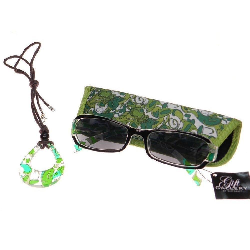 Sunglass Reading Glasses - +1.75 - Green Floral - with Case and Teardrop Necklace