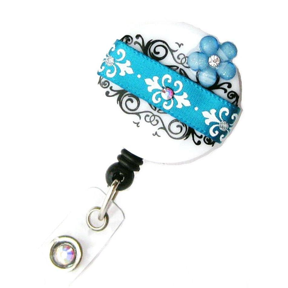 Badge Blooms ID Badge Reel - Damask - Teal Chic