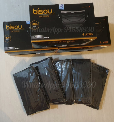 4 Ply Disposable Masks Adults Black Surgical - 50pcs (Anti-Bacterial) Premium Quality