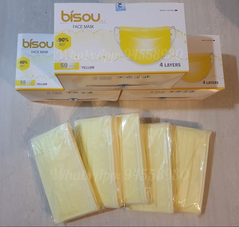 4 Ply Disposable Masks Adults Yellow Surgical - 50pcs (Anti-Bacterial) Premium Quality