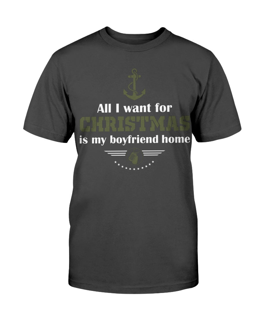 ALL I WANT FOR CHRISTMAS IS MY BOYFRIEND HOME - NAVY LOGO - U Shop V Ship