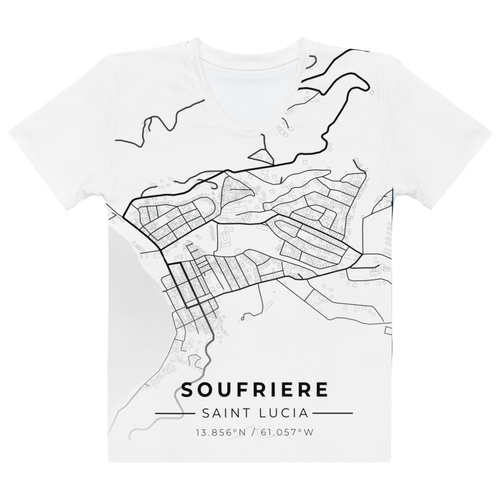 Women's Soufriere Map T-shirt
