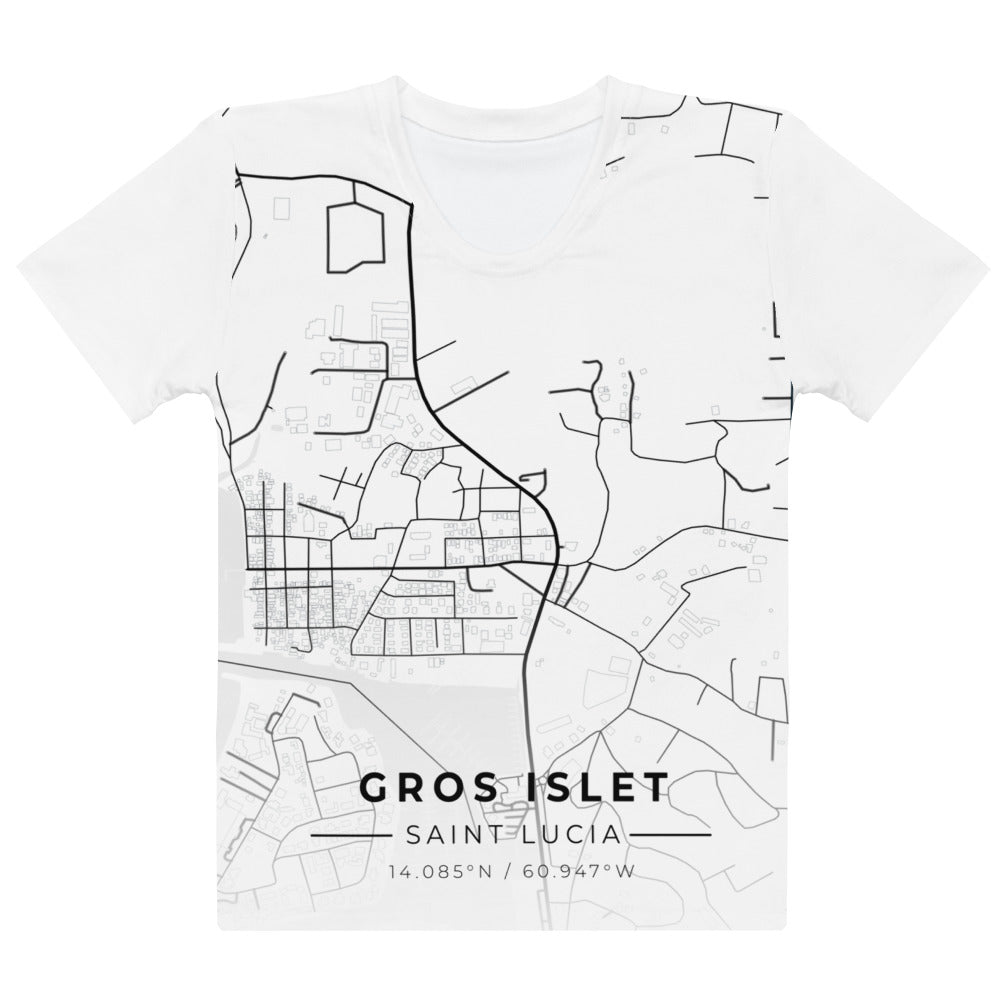 Women's Gros Islet Map T-shirt