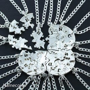 16 Piece Silver Jigsaw Puzzle Pieces, Custom With Initials Necklace Set