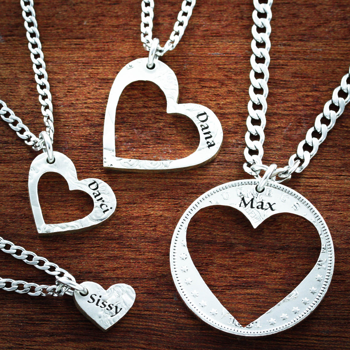 4 Best Friend Heart Necklaces, Custom Names Engraved