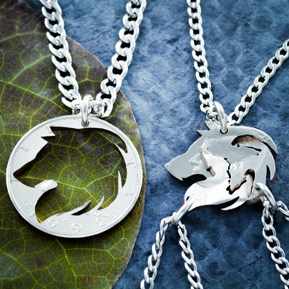 4 Best Friends Wolf necklaces, Wolf Pack, Family Jewelry