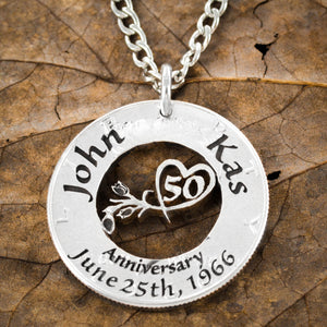 50th Anniversary Necklace, Custom name and date marriage jewelry