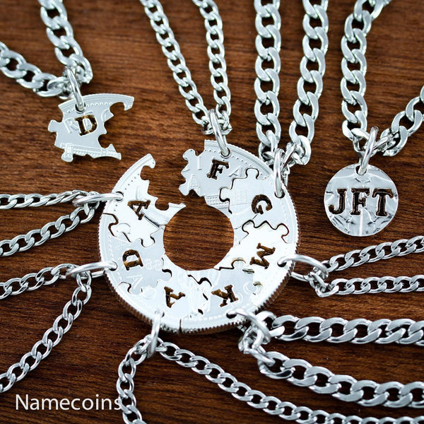 9 Piece Puzzle Necklaces With Initials