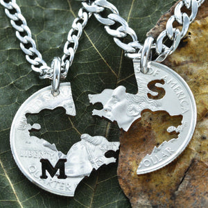 Bear and Bear Necklace Set, BFF and Couples Necklaces Interlocking hand cut coin