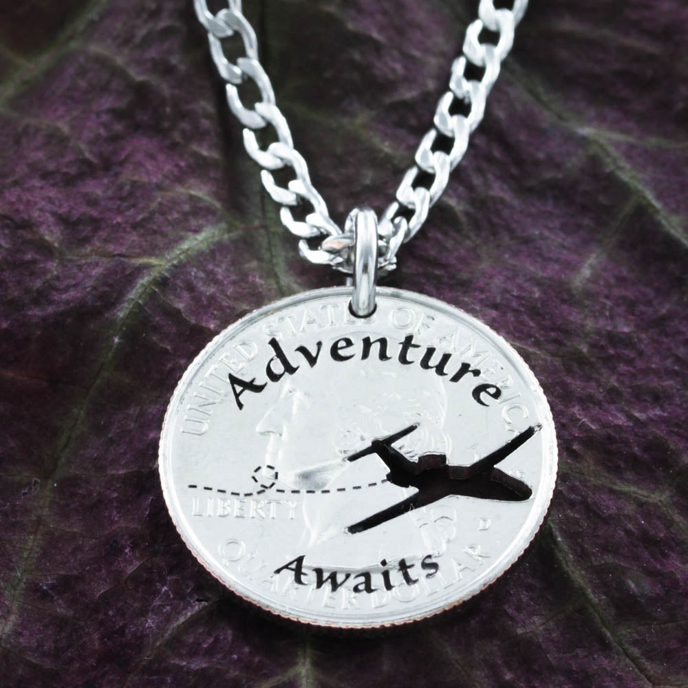 Adventure Awaits Necklace, Love to Travel Aviation Jewelry Coin