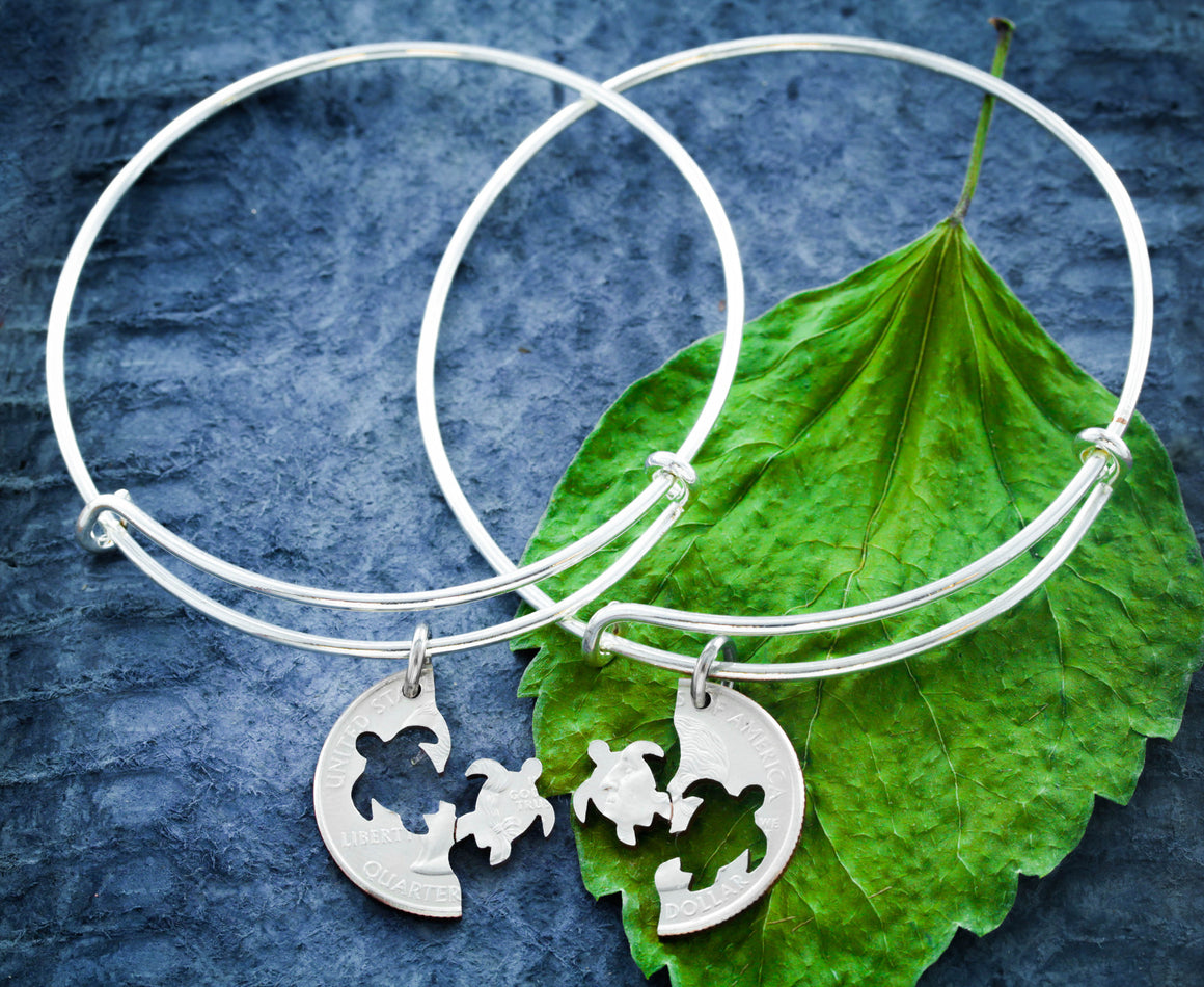 Best Friends Turtle Charm Bangles, Turtle Bracelet, friendship set
