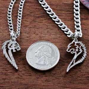 Tribal Bear and Tigress Couples Necklaces, Tiger Grizzly BFF coin