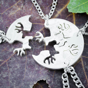 4 Best Friends Hunters Necklaces, Buck deer jewelry by Namecoins