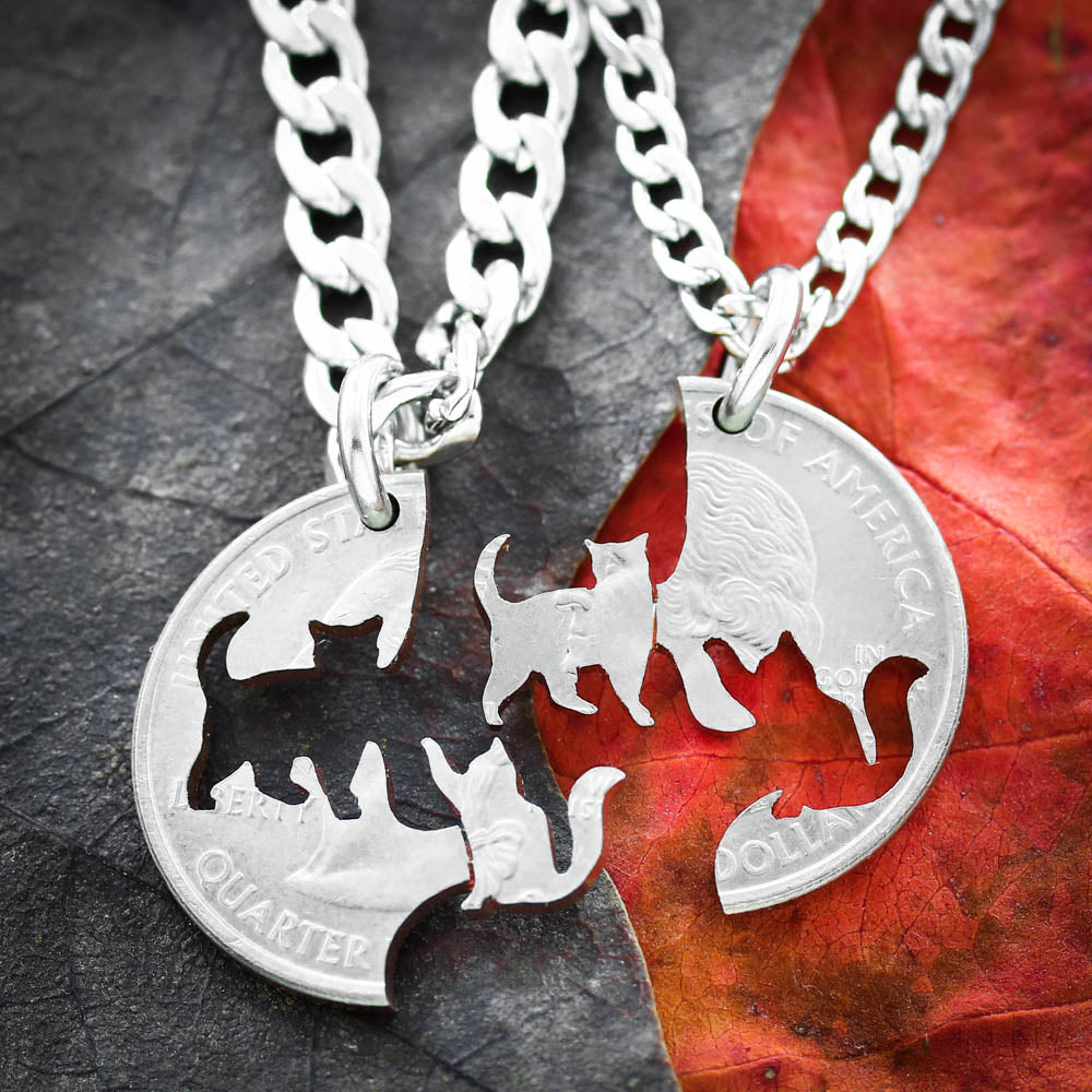 Cat Friendship Necklaces, Best Friends, Pet loss, and Memorial Jewelry
