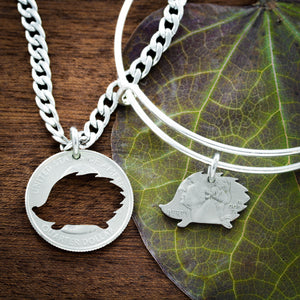 Hedgehog Bracelet and Necklace, Best Friends gift, Hand cut coin
