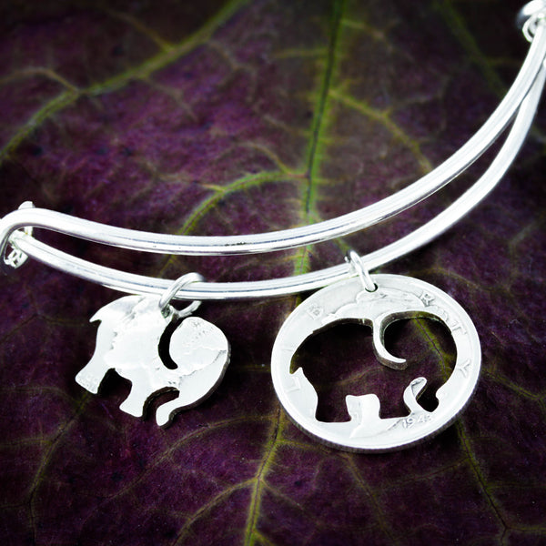 Elephant Charm Bangle, Elephant Bracelet, Inside and Outside piece by NameCoins