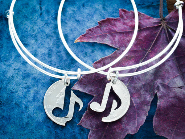 Music Note Bracelets, Best Friends Charm Bangles, friendship set