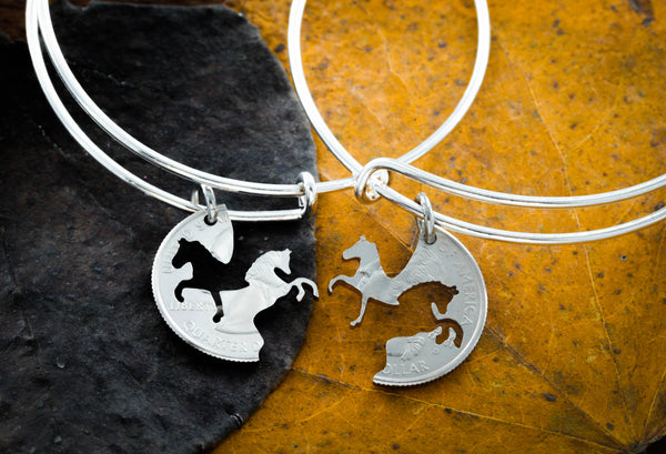 Horse Bracelets, Best Friends Charm Bangles, Prancing and Rearing by Namecoins