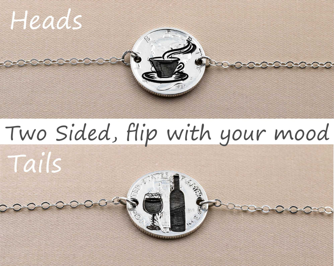 Wine and Coffee, Silver Dime Flip Necklace