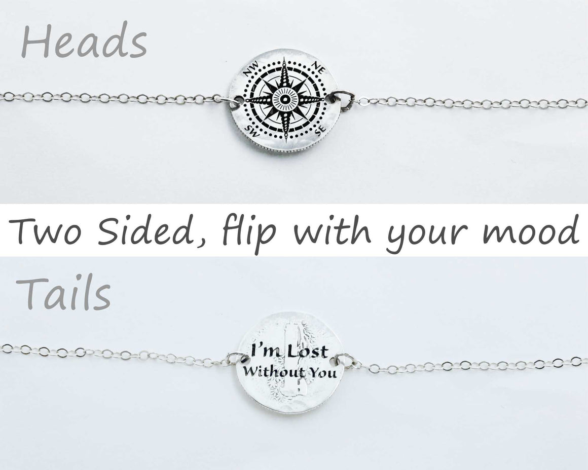 Compass and Phrase, Silver Dime Flip Necklace
